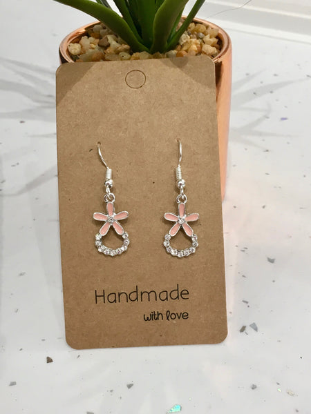 Pink Rhinestone Flower Dangly Earrings