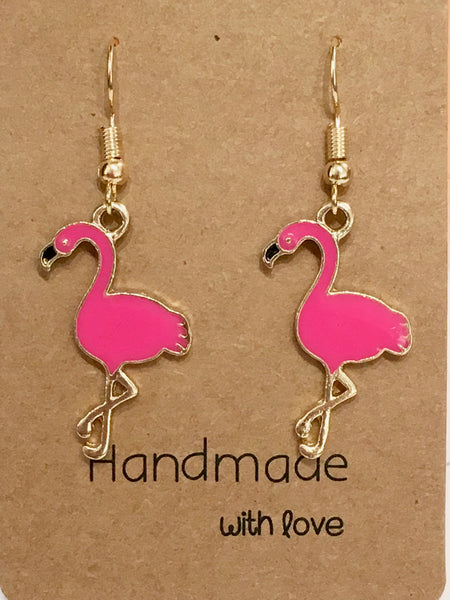 Pink Flamingo Dangly Earrings