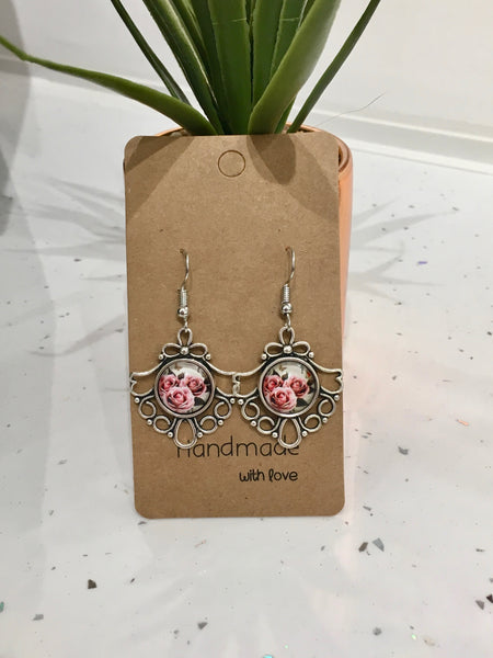 Roses Antique Silver Dangly Earrings