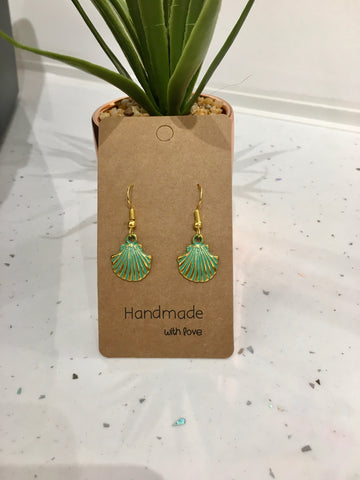 Green & Gold Seashell Dangly Earrings
