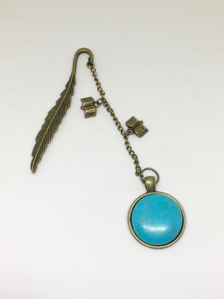 Antique Bronze Turquoise Bookmark