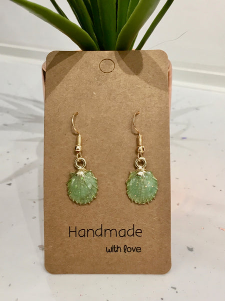 Green & Gold Glitter Seashells Dangly Earrings