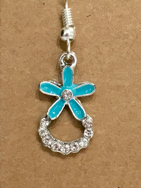 Turquoise Rhinestone Flower Dangly Earrings