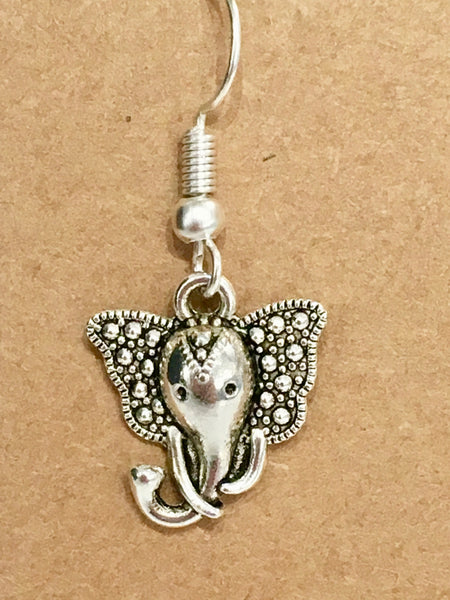Elephant Antique Silver Dangly Earrings