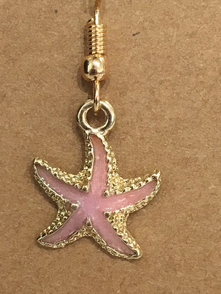 Pink & Gold Glitter Starfish Dangly Earrings
