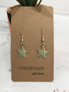 Green & Gold Glitter Starfish Dangly Earrings