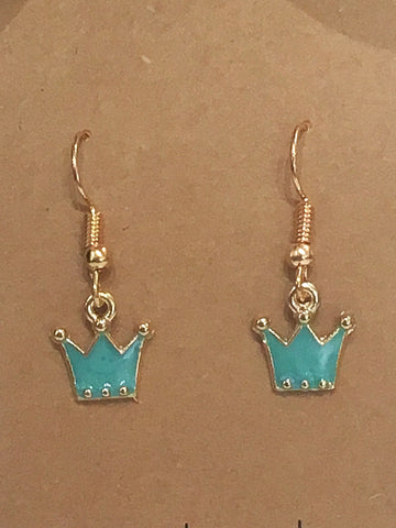 Green & Gold Glitter Crown Earrings