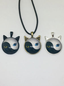 Black & White Cat Leather Rope Necklace