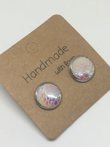 Ice Mermaid Scale Stud Earrings