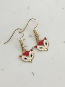 Cute Gold & Red Fox Hook/Dangly Earrings