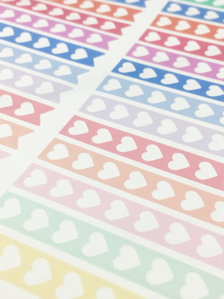 Rainbow Heart Checklist Planner Stickers