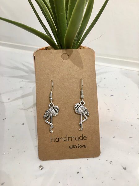 Flamingo Antique Silver Dangly Earrings