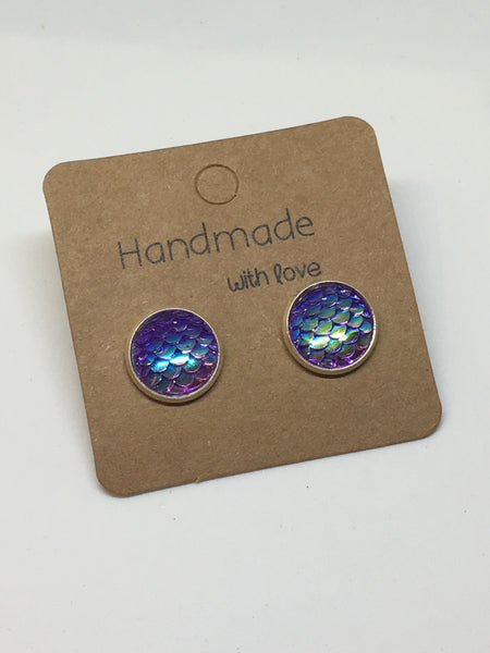 Purple Mermaid Scale Earrings