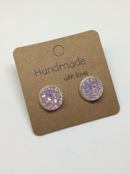 Lilac Druzy Stud Earrings