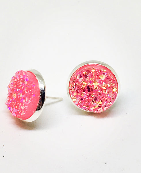 Pink Druzy Stud Earrings