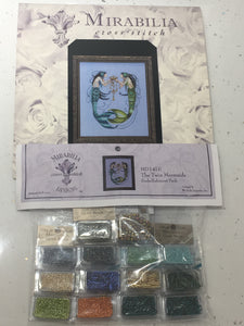 Twin Mermaids Mirabilia MD141 Cross Stitch Chart/Embellishment Pack