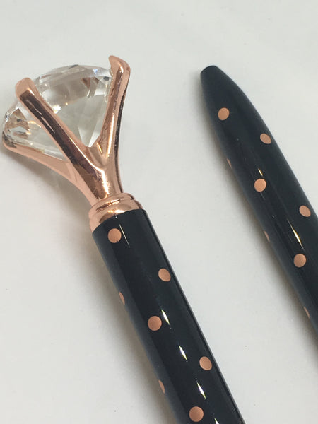 Luxury Rose Gold & Black Polka Dot Diamond Ball Point Pen