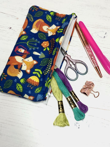 Woodland Foxes Pocket Pouch/ Pencil Case/ Storage