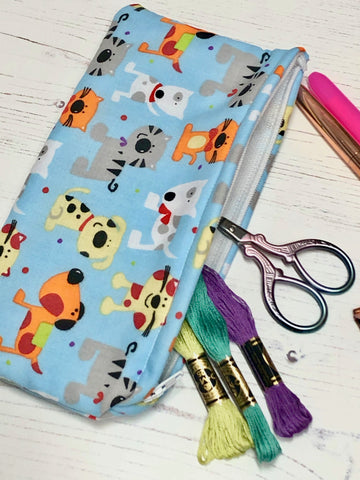 Raining Cats & Dogs Pocket Pouch/ Pencil Case/ Storage