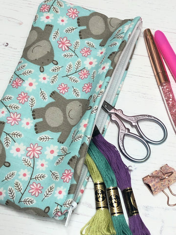 Happy Hippos Pocket Pouch/ Pencil Case/ Storage