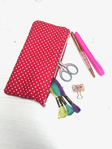 Red Polka Dot Pocket Pouch/ Pencil Case/ Storage