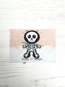 Sully the Skelly Skeleton Rhinestone Alloy Enamel Needle Minder