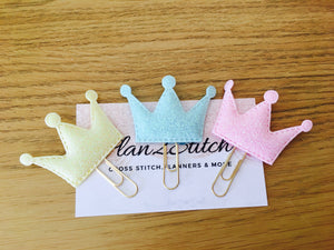 Pastel Glitter Crown Paperclips x3