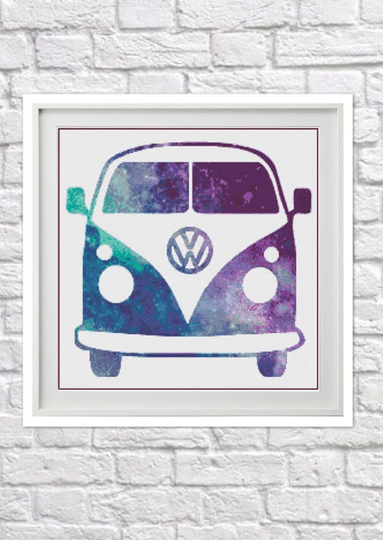 Galaxy Camper Van Counted Cross Stitch Chart