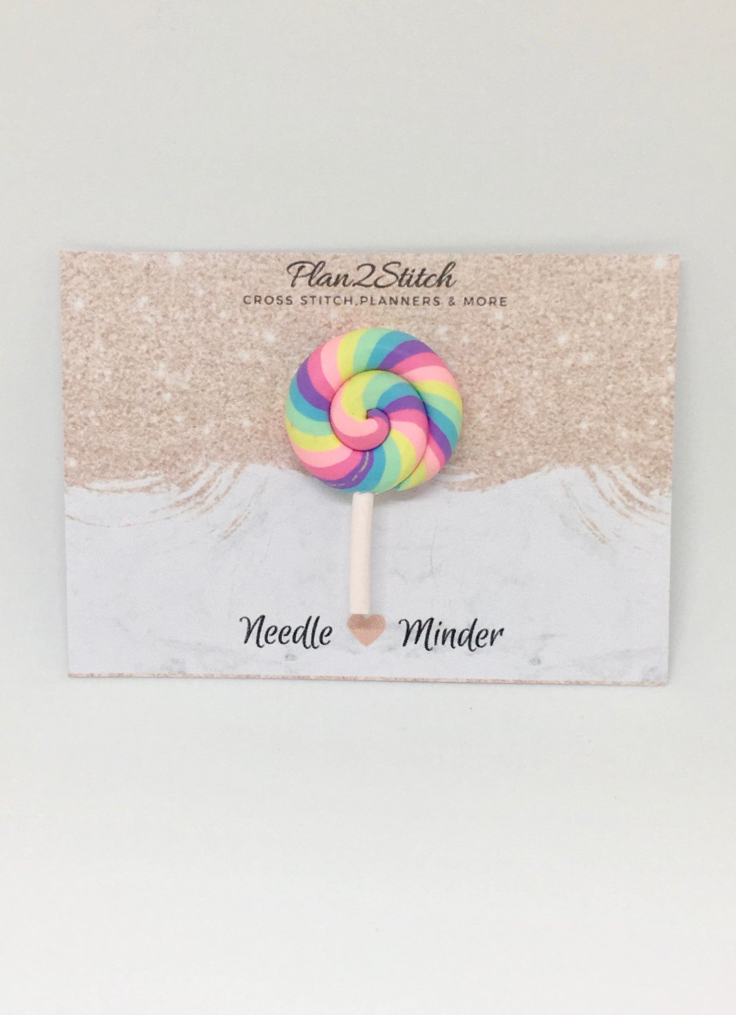 Rainbow Swirl lollipop Needleminder