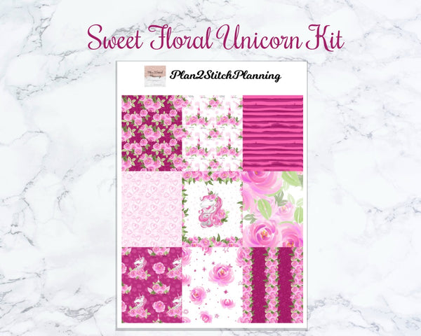 Sweet Floral Unicorn Weekly Sticker Kit