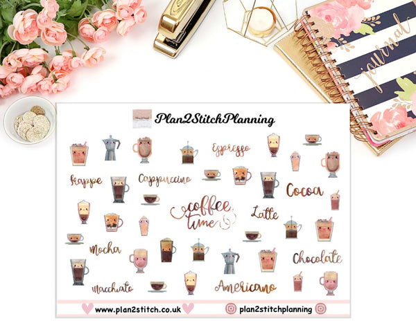Kawaii Coffee Planner Stickers