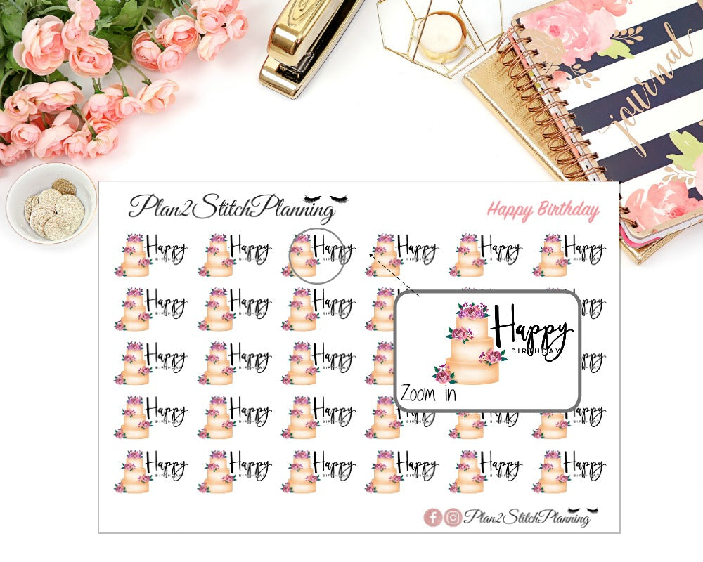 Happy Birthday Planner Stickers