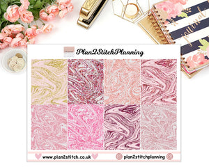 Pink Glitter Paint Swirl Full Box Erin Condren Planner Stickers
