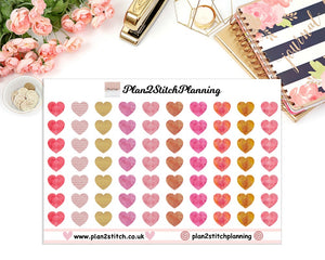 Watercolour Hearts Planner Stickers
