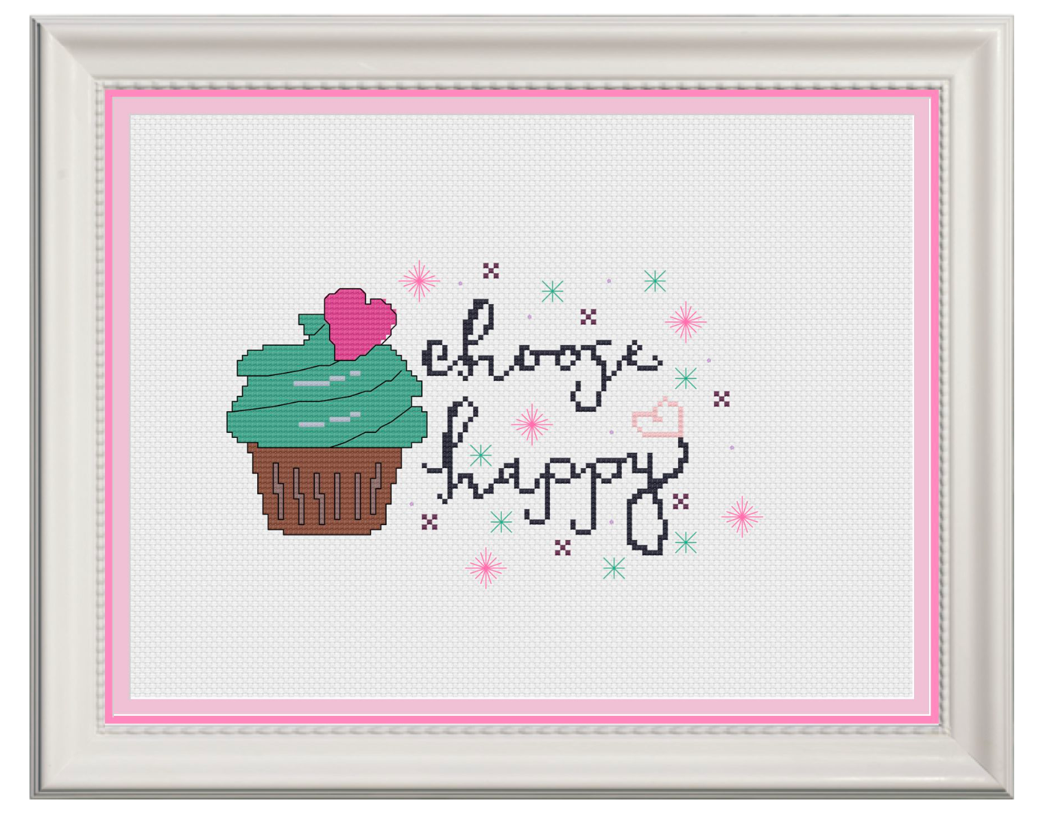 Choose Happy Counted Cross Stitch Chart