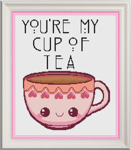 You're My Cup Of Tea Pink Counted Cross Stitch Chart