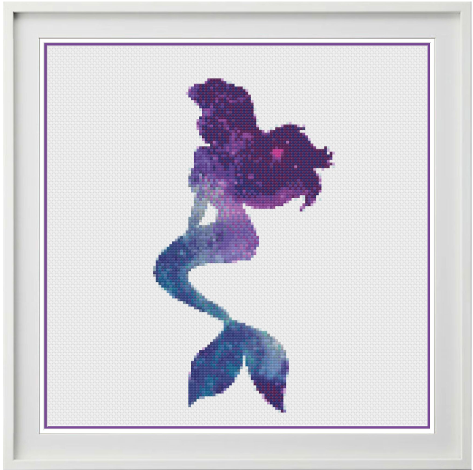 Galaxy Mermaid Counted Cross Stitch Chart
