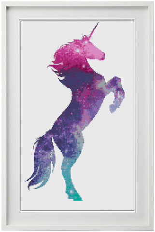 Galaxy Unicorn Counted Cross Stitch Chart