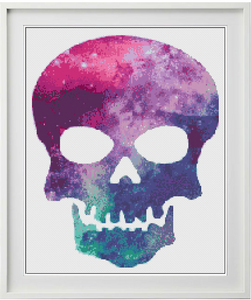 Galaxy Skull Counted Cross Stitch Chart