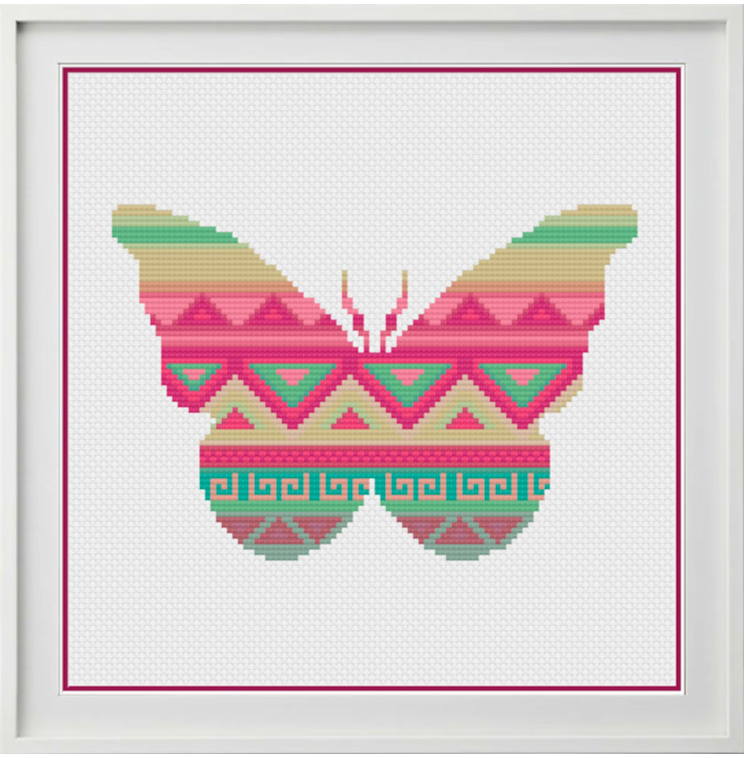 Aztec Butterfly Counted Cross Stitch Chart