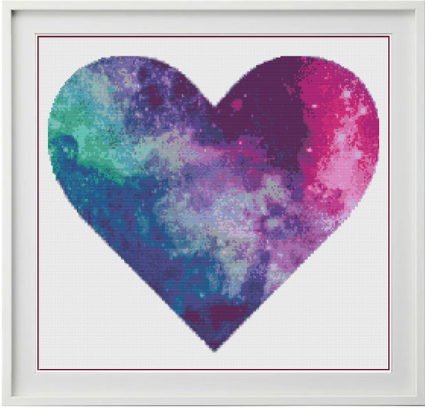 Galaxy Heart Counted Cross Stitch Chart
