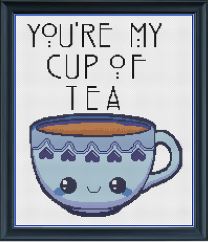 You're My Cup Of Tea Blue Counted Cross Stitch Chart
