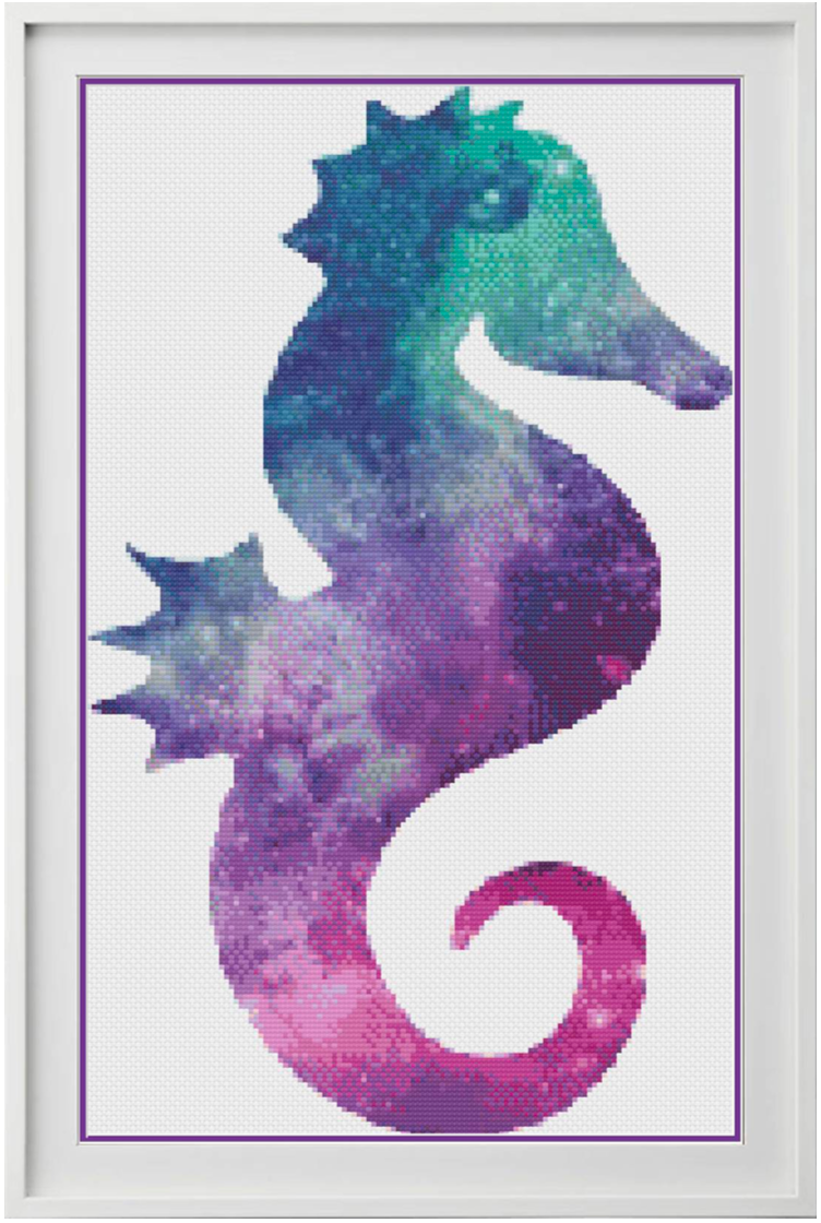 Galaxy Seahorse Counted Cross Stitch Chart