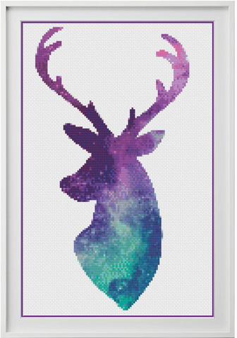 Galaxy Stag Counted Cross Stitch Chart