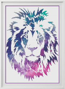 Galaxy Lion Counted Cross Stitch Chart