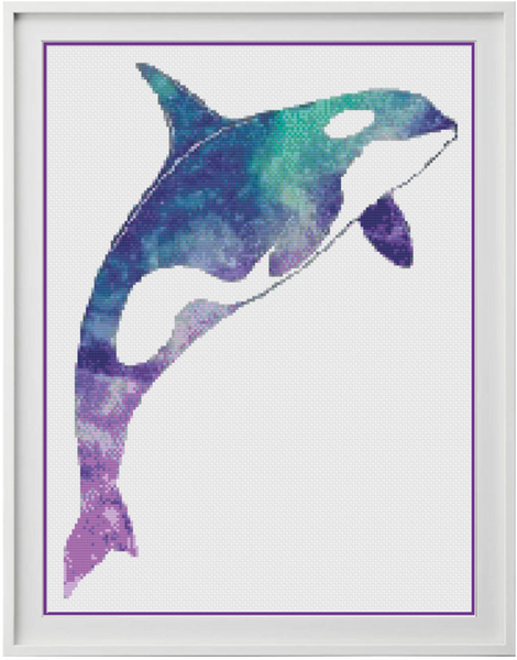 Galaxy Orca Counted Cross Stitch Chart