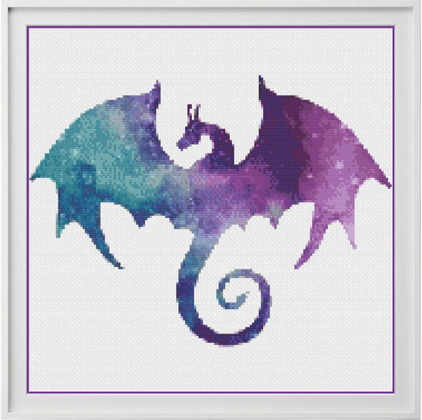 Galaxy Dragon Counted Cross Stitch Chart