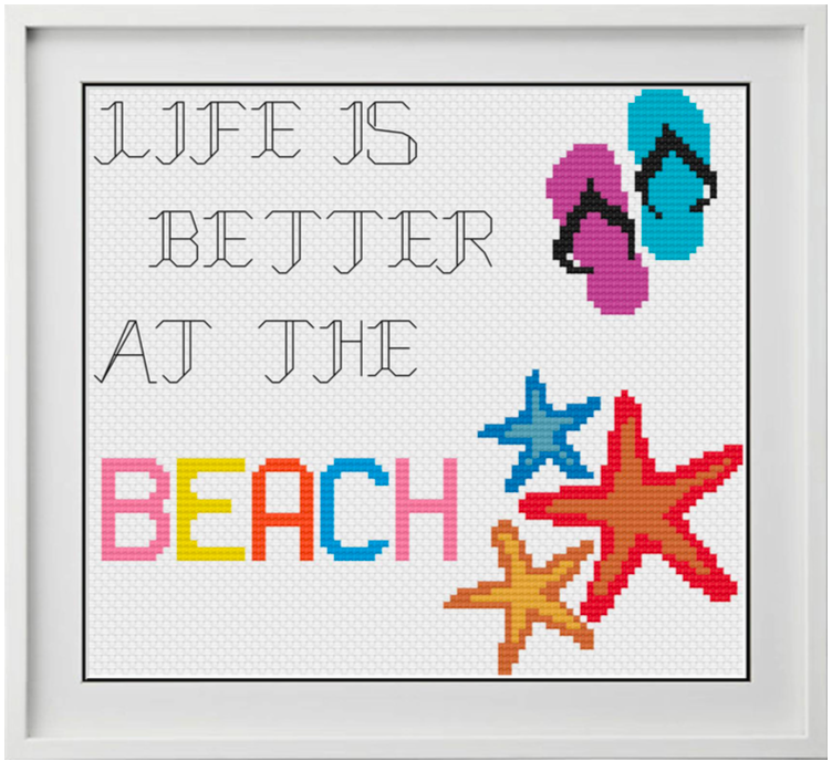 Life is Better at the Beach Counted Cross Stitch Chart