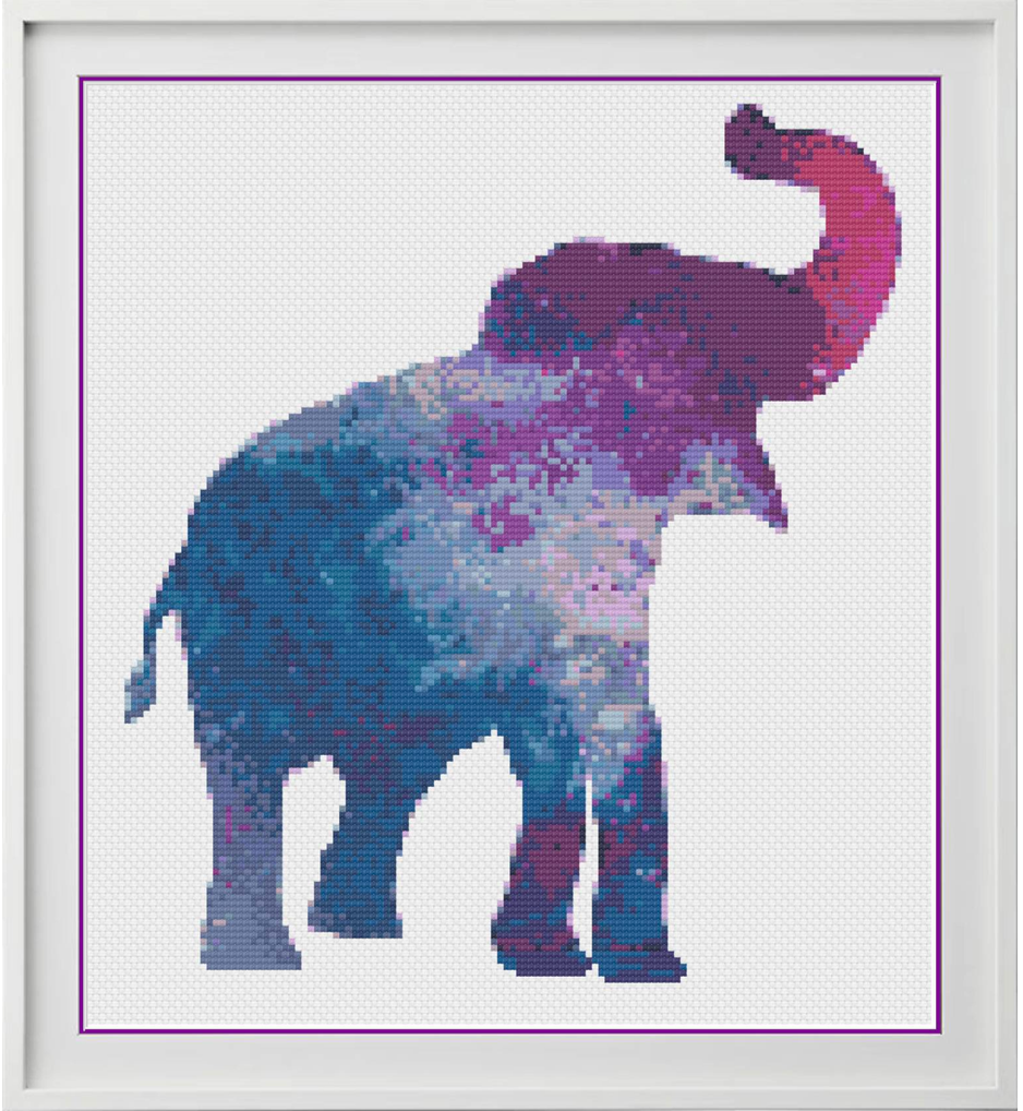 Galaxy Elephant Counted Cross Stitch Chart