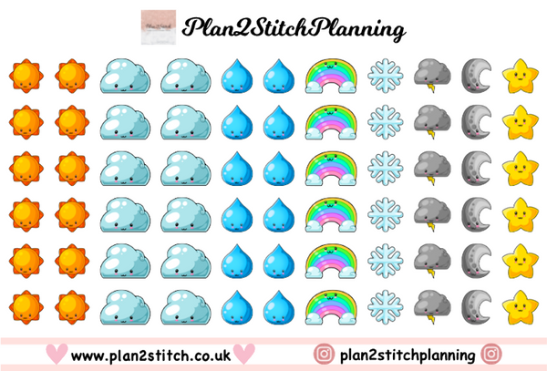 Kawaii Weather Planner Stickers